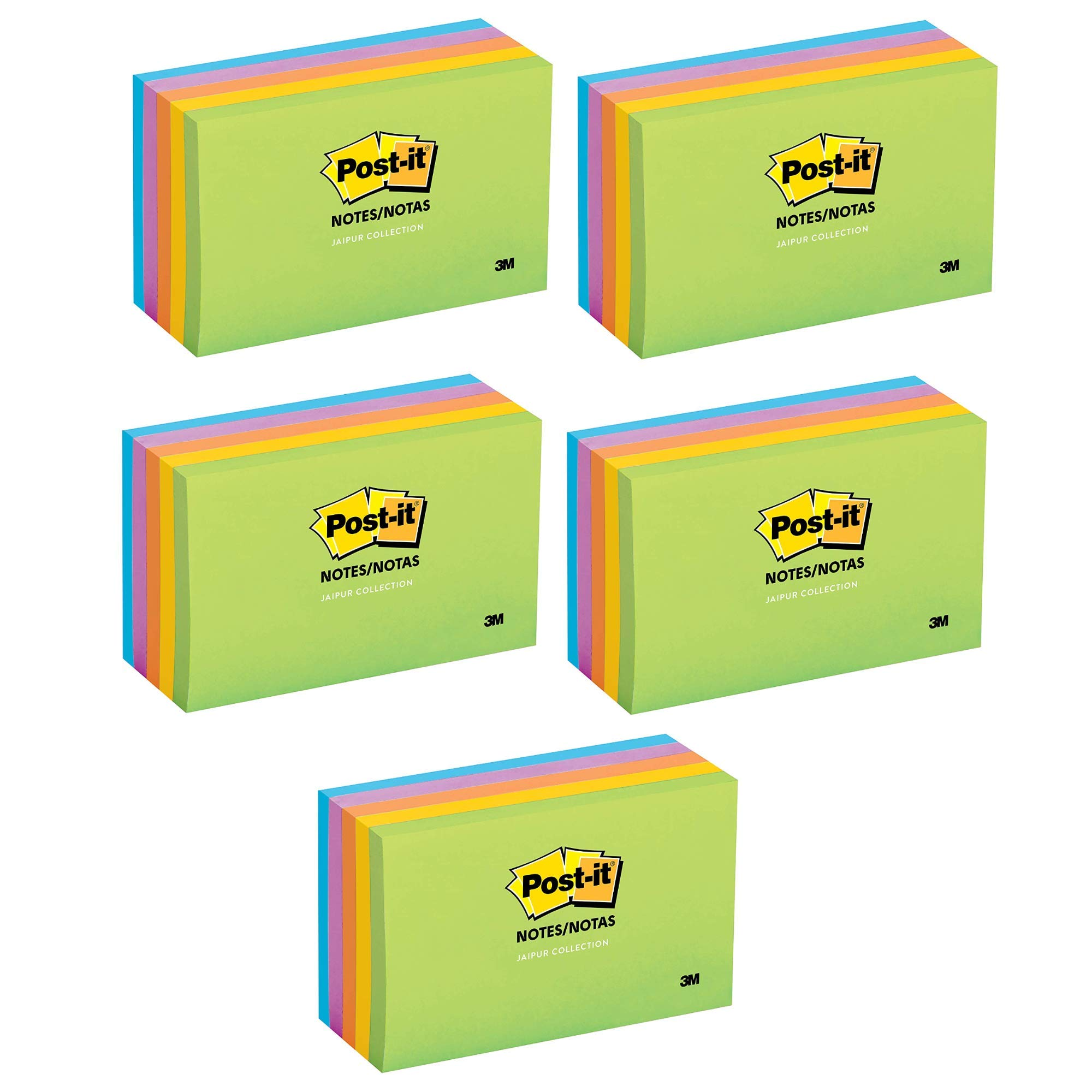 Notes, Jaipur Colors, America's #1 Favorite Sticky Note, Recyclable, 3 in. x 5 in, 5 Pads/Pack, 100 Sheets/Pad (655-5UC) (5) by Post-it