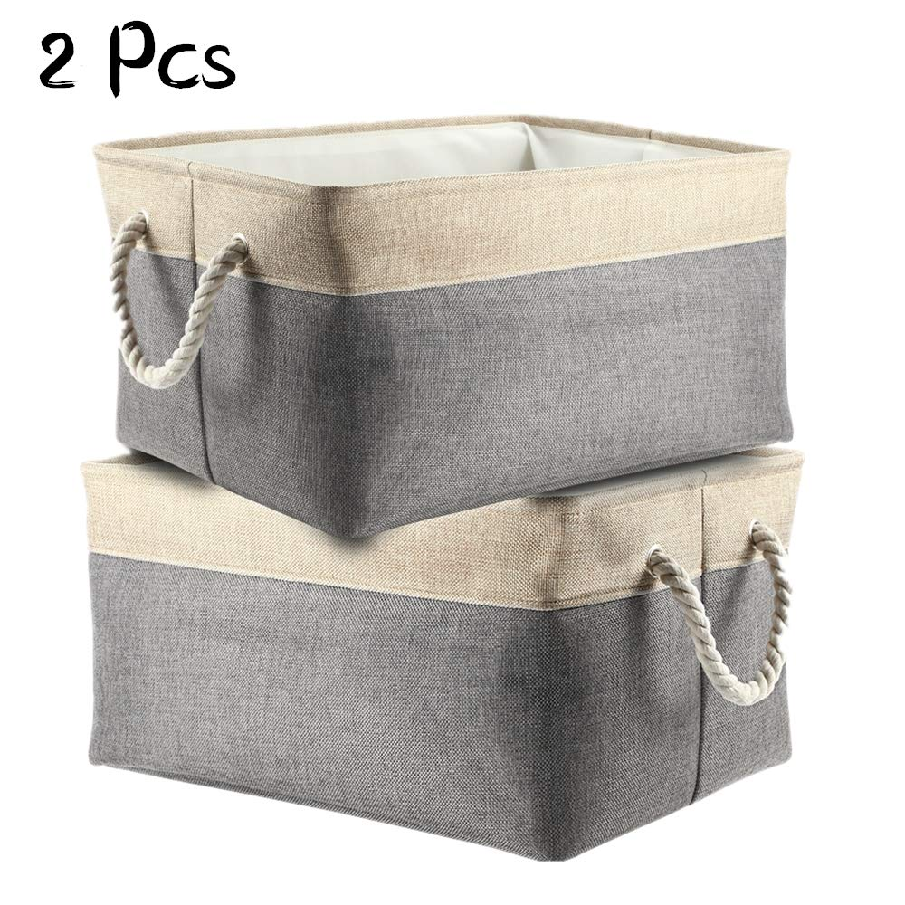 Mounchain Large Storage Bins Basket, Collapsible Storage Cubes Containers Organizers Fabric Decorative Set with Cotton Handles for Home Office Closet, Pack of 2, 16.9''x13''x9.1''