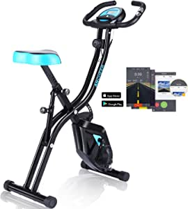 ANCHEER APP Control Folding Exercise Bike, Indoor Stationary Bike with 10-Level Adjustable Magnetic Resistance & Comfortable Seat for Home Gym Cardio Fitness (EB - B500)