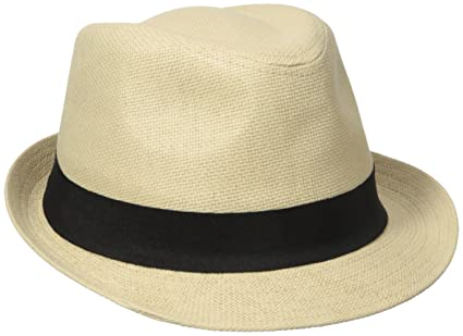 00c9e9a75c2a4 Henschel Men s Linen Look Straw Fedora with Black Band at Amazon Men s  Clothing store