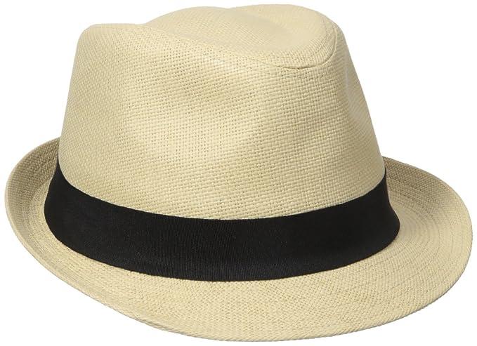 d674d874bbf Henschel Men s Linen Look Straw Fedora with Black Band at Amazon Men s  Clothing store