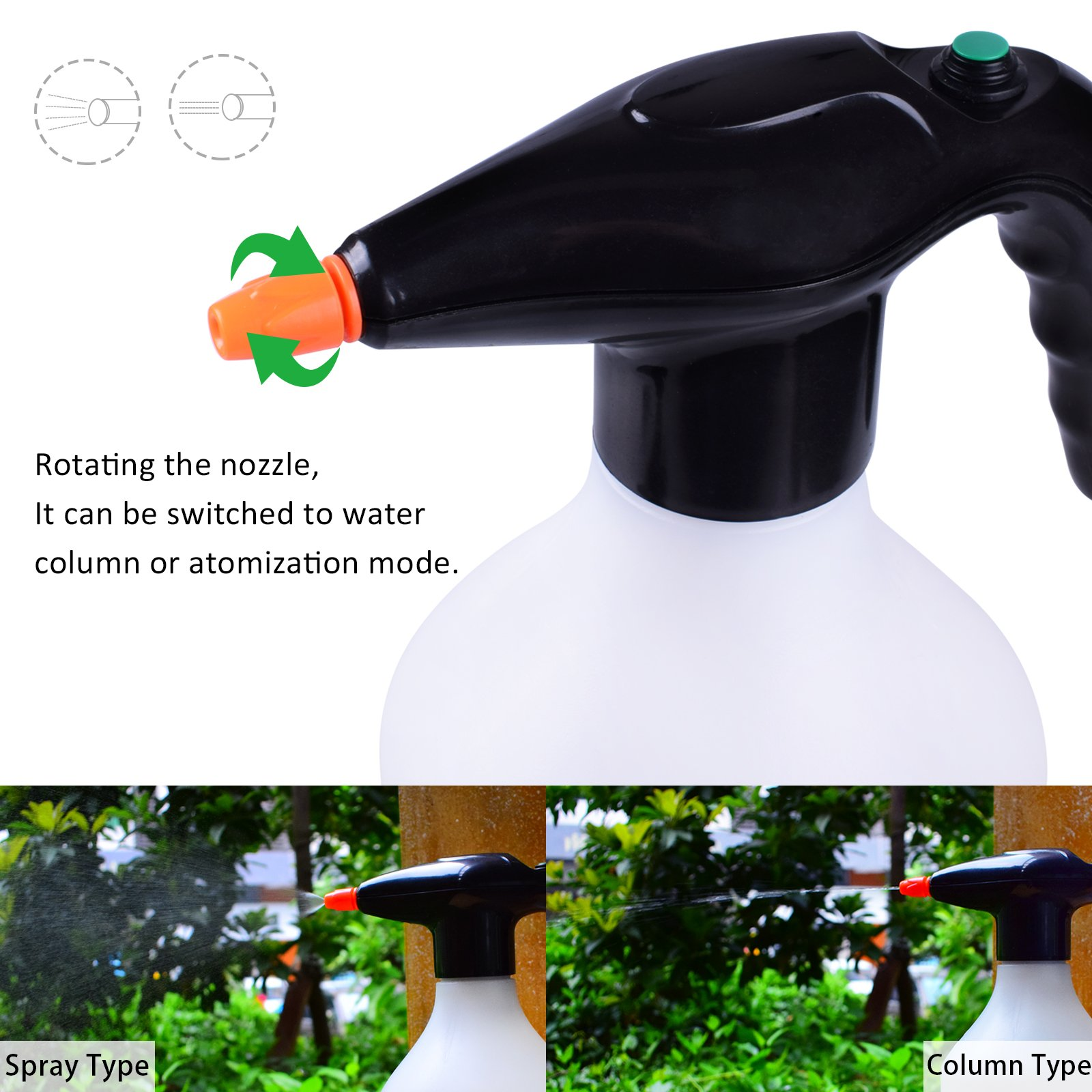 MIXC Electric Automatic Mist Plant Spray Bottle Garden Sprayer 0.5 Gallon Water Mister USB Rechargeable Fine Mist to Stream with Adjustable Nozzle for Watering, Fertilizing, Home Cleaning, Car Washing