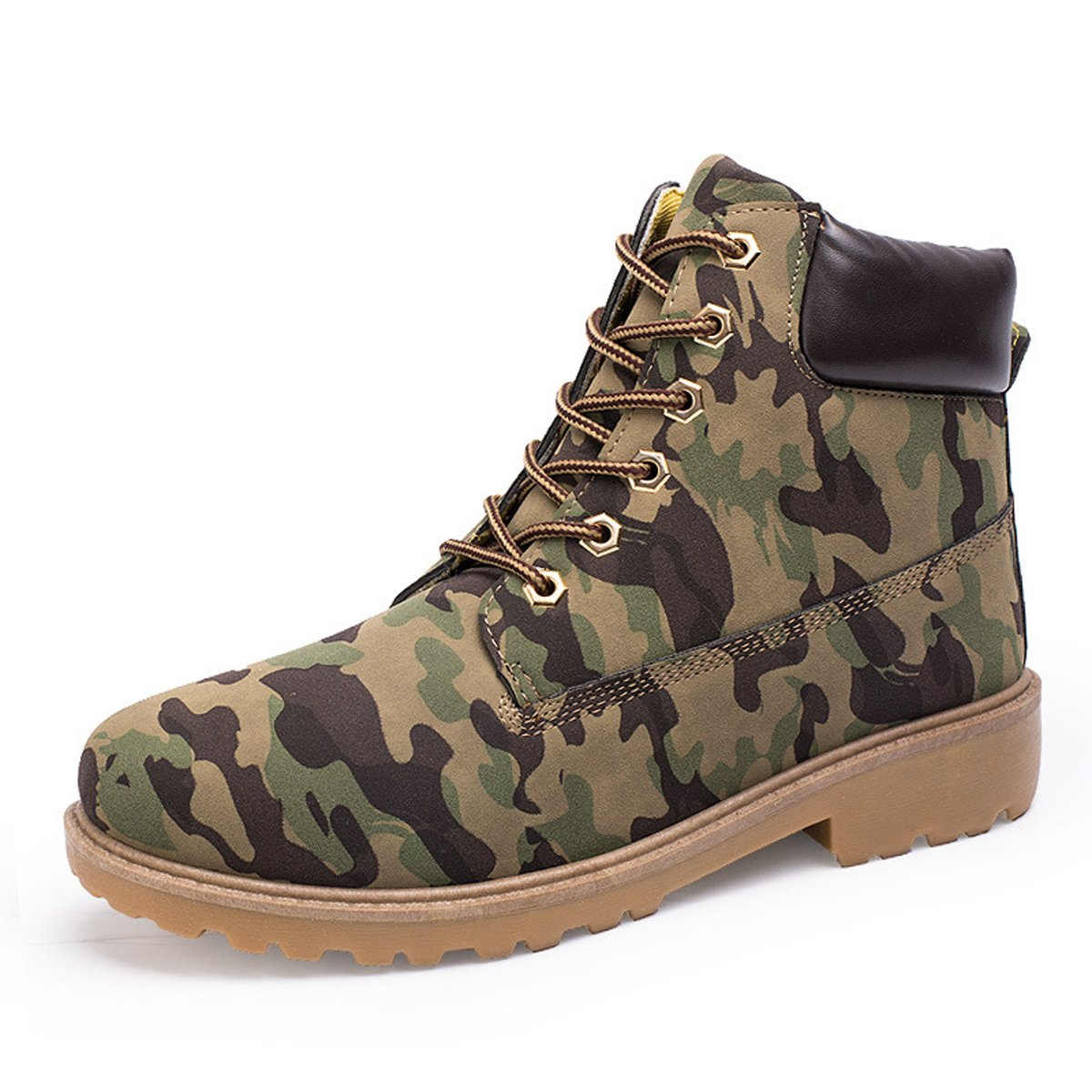 Mens Womens Chukka Ankle Boots Lace up Fashion Waterproof Anti-Slip Outdoor Work Hiking Martin Combat Bootie Boot Camouflage 8 D(M) US