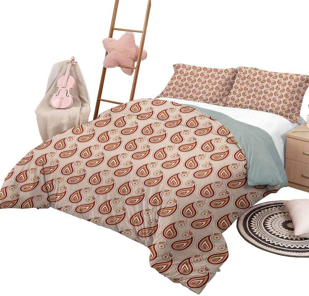 3 Piece Coverlet Set Paisley Luxe Bedding 3 Piece Oversized Quilted Bedspread Coverlet Set Contemporary Illustration Of Persian Style Paisley And Patterns Print Queen Size Pale Peach Pale Orange Home