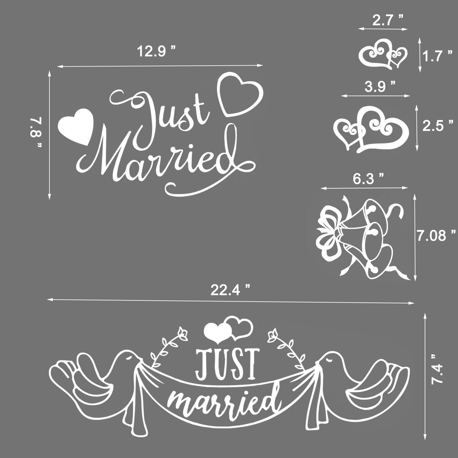 Pack of 2 Just Married Car Sticker Vinyl Car Window Decal for Honeymoon Wedding Car Decoration Newlywed Wedding Gift Konsait Just Married Decorations Weatherproof /& Removable