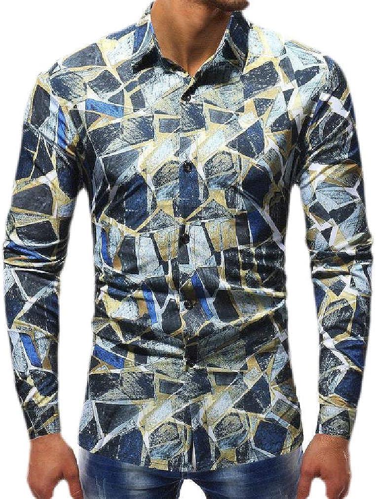 Smallwin Men Printed Lapel Neck Slim Long Sleeve Curved Hem Button Down Shirts