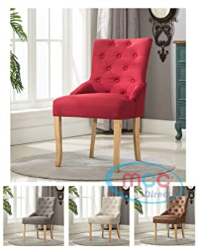 Linen Fabric Accent Chair Dining For Home Commercial Restaurants Brown Grey Red Cream Amazoncouk Kitchen
