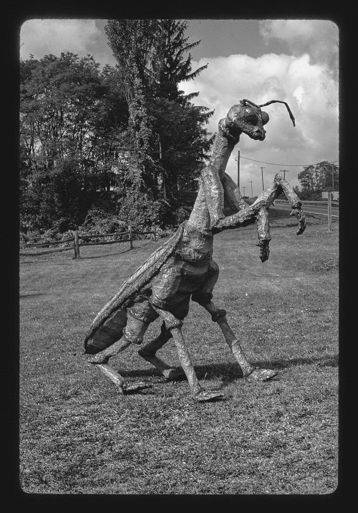 Vintography 8 x 12 BW Photo of: Praying Mantis statue at Second Time Around, Route 30, Boswell, Pennsylvania 1984 Roadside America Margolies, John 47n