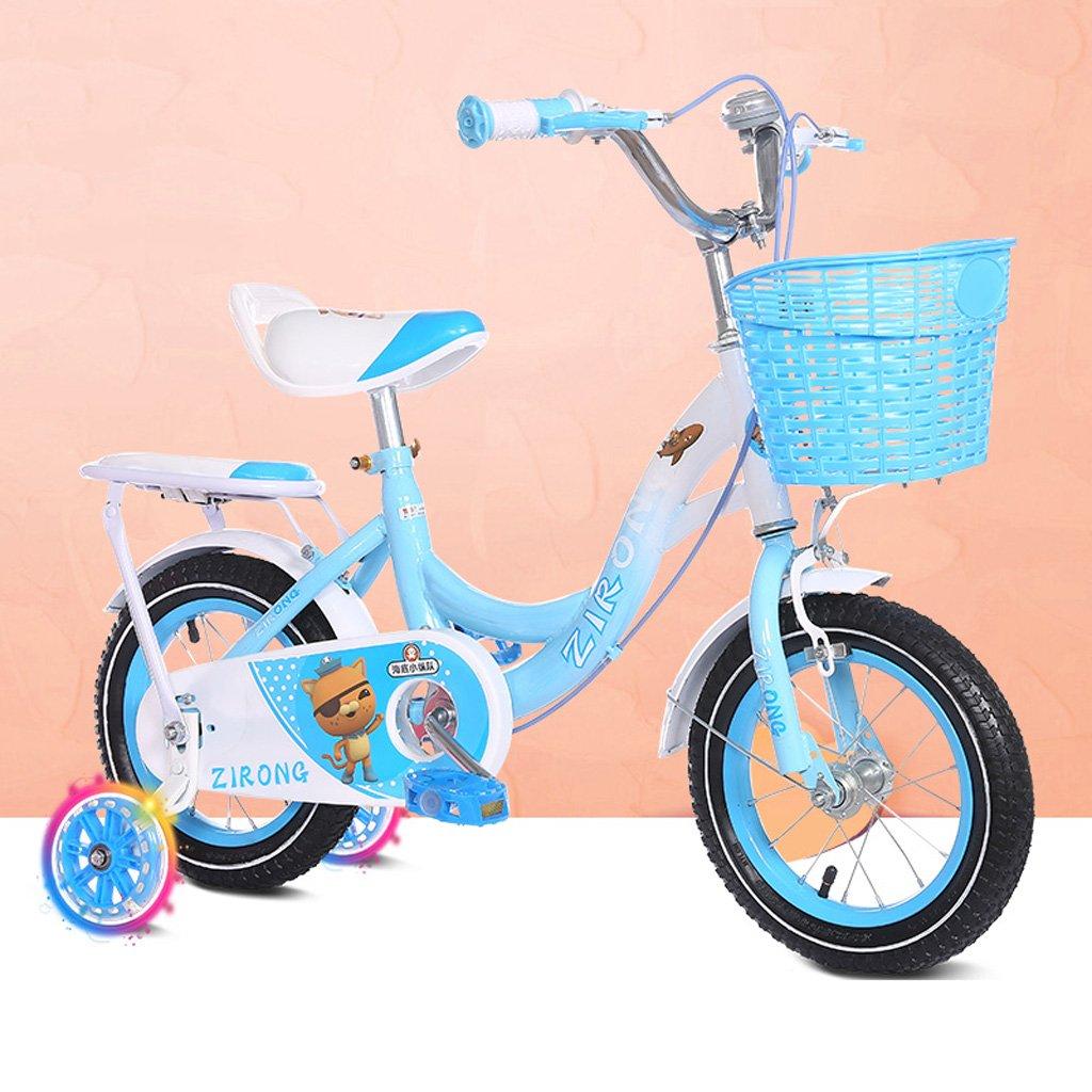 子供用自転車6-9歳のガールズバイク18インチベビーベビーカー高炭素スチール自転車、ピンク/ブルー (Color : Blue) B07CYKLY39