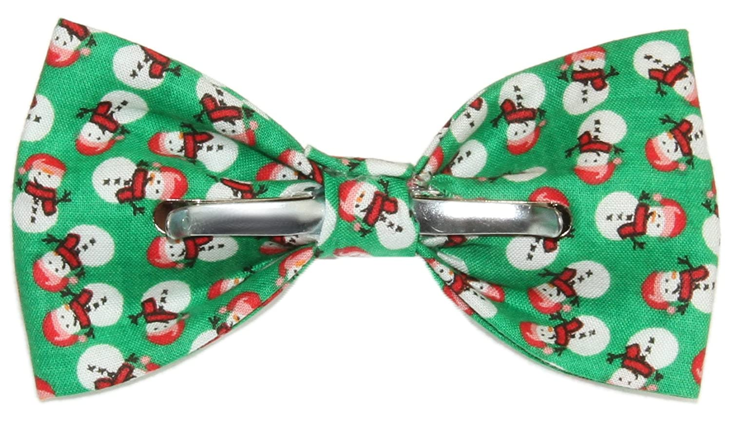 Boys Green Colorful Snowman Clip On Cotton Bow Tie Holiday Bowtie