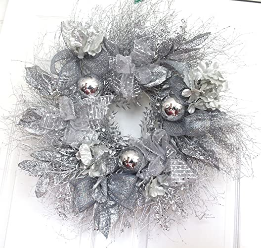 extra large silver and white christmas wreath for front door winter - White Christmas Wreath