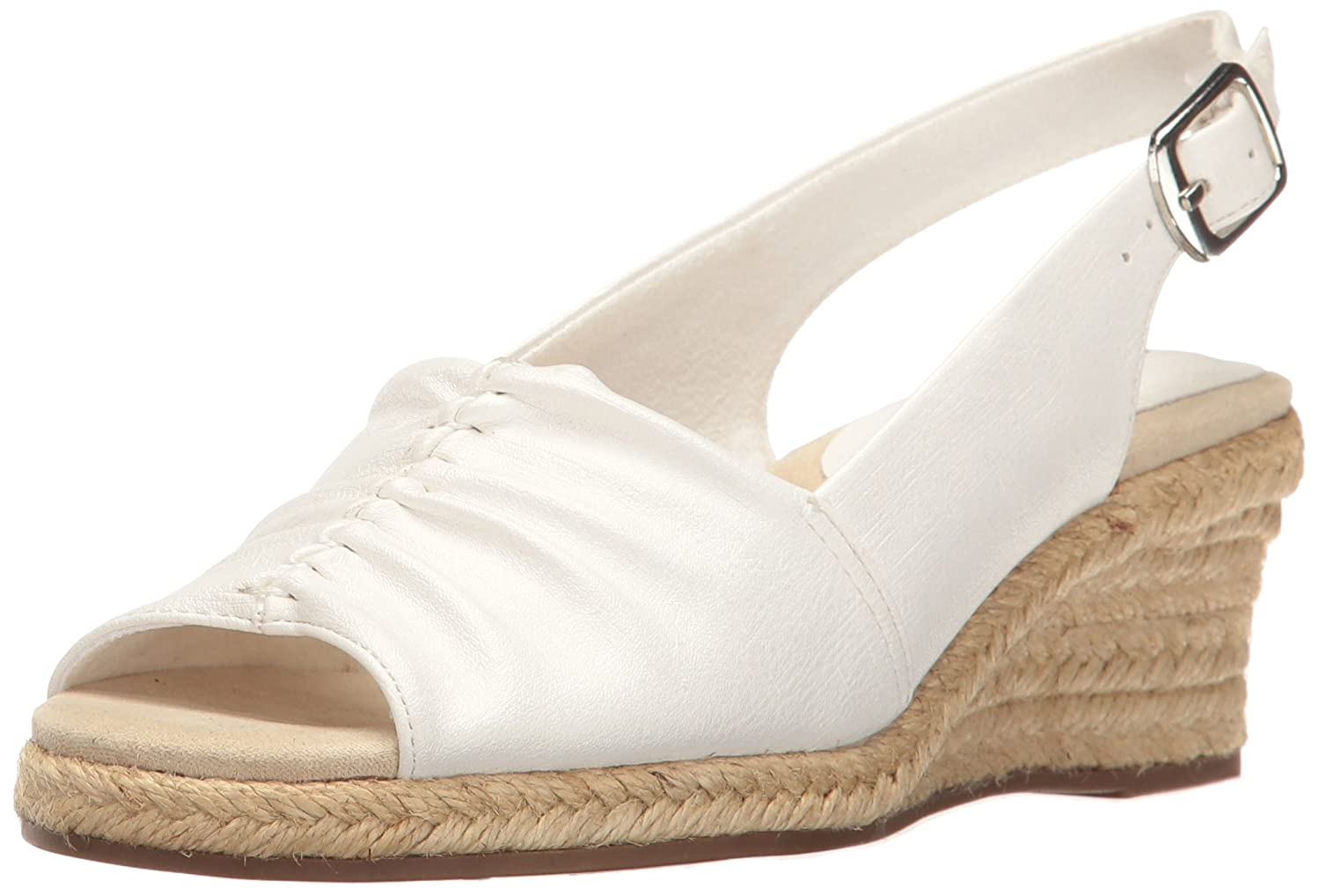 Easy Street Women's Kindly Espadrille Wedge Sandal B01N2N89M7 9 N US|White Textured