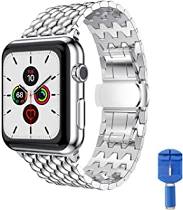 Elegant Choise Smartwatch Band Compatible for Apple Watch Band 42mm 44mm Stainless Steel Metal Apple Watch Strap Replacement IWatch Bands 42mm 44mm for Apple Watch Series 1/2/3/4/5 (Silver 42mm/44mm)