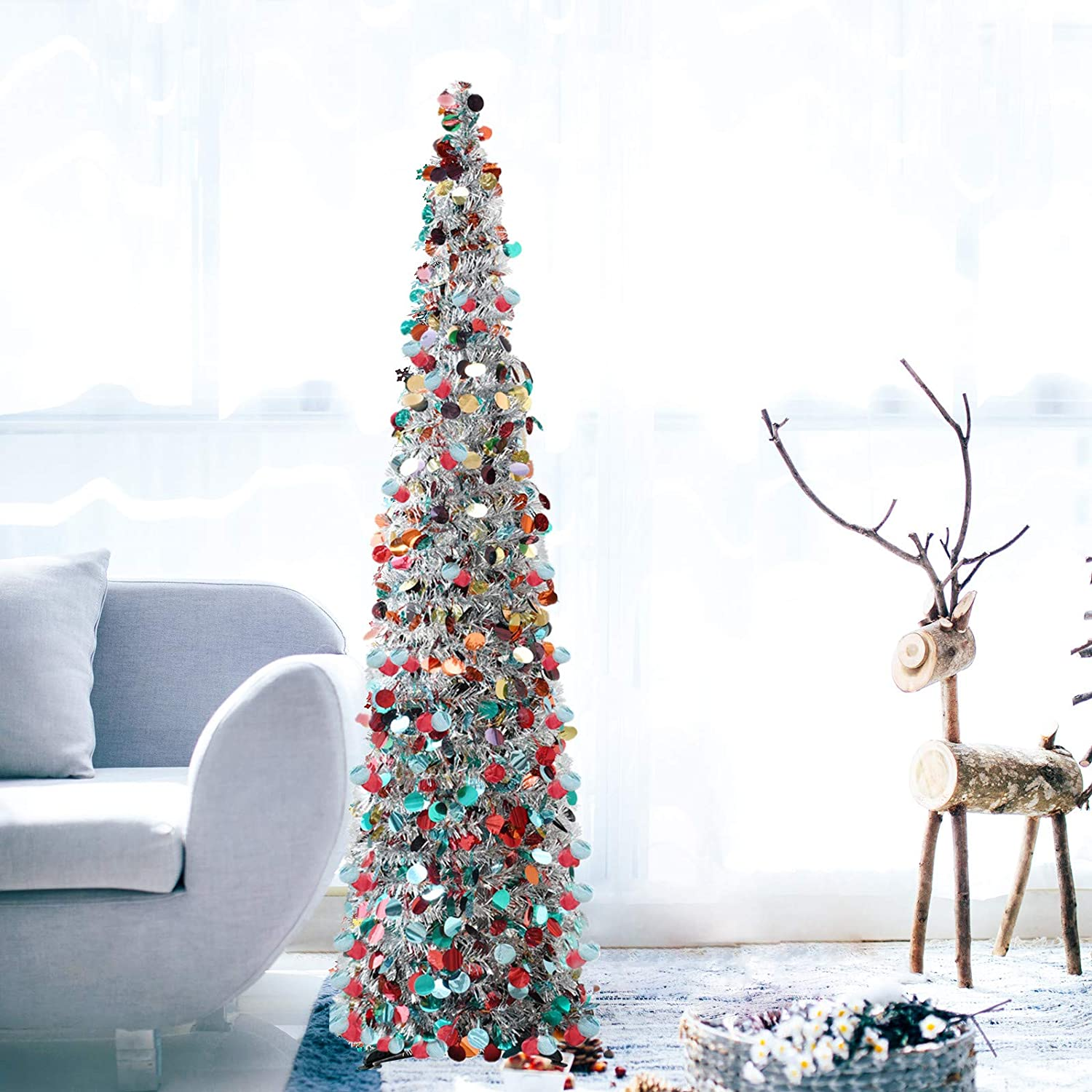 DOYOLLA Collapsible Artificial Pencil Christmas Tree, Pop Up Tinsel Coastal Xmas Tree for Home & Party & Office & Fireplace Holiday Decorations (Silver, 5ft)