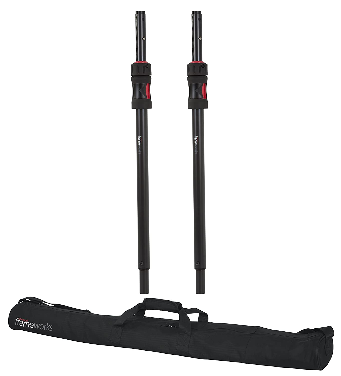 Gator Frameworks ID Series Speaker Sub Poles Set with Padded Nylon Carry Bag; Set of 2 Stands (GFW-ID-SPKR-SPSET) Gator Cases
