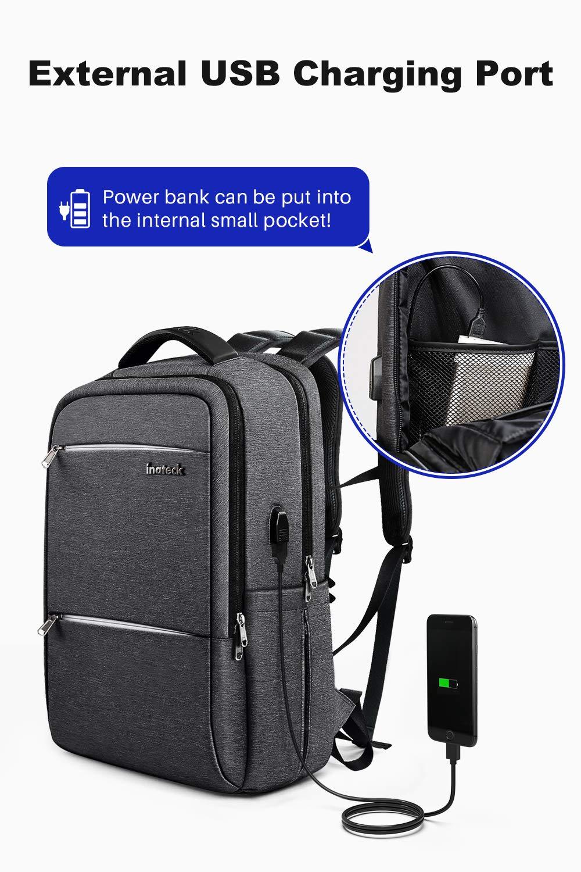 Gris fonc/é Inateck 15-15.6 Pouces Sac /à Dos pour Ordinateur Portable avec Port de Charge USB et Housse de Pluie imperm/éable