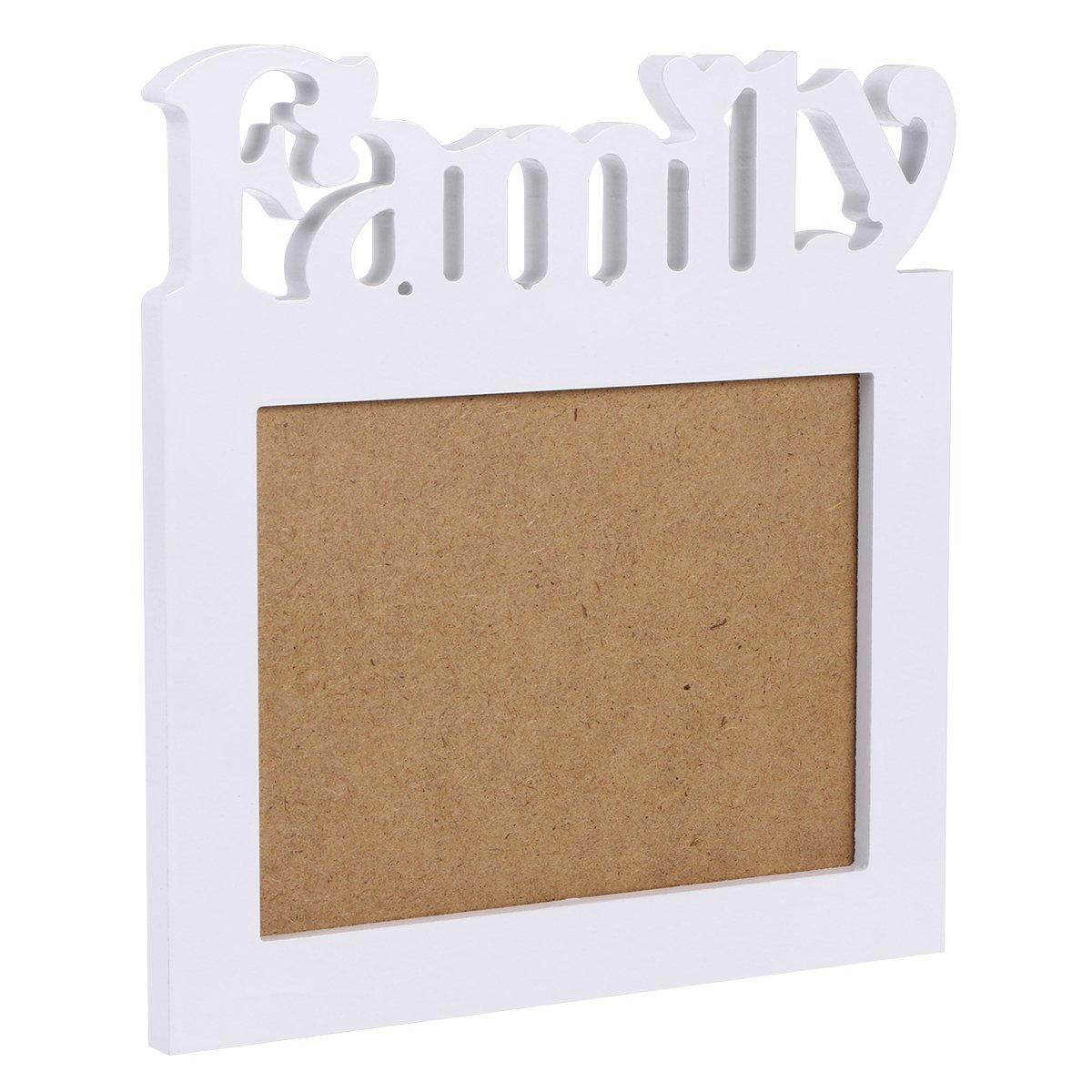 VORCOOL Decorazione da tavolo in legno a doppia parete FAMILY Frame (bianco)