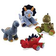 Gund Animal Chatter Dino-Roars (Set of 4) - Triceratop, T-rex, Apatosaurus and Stegosaurus.