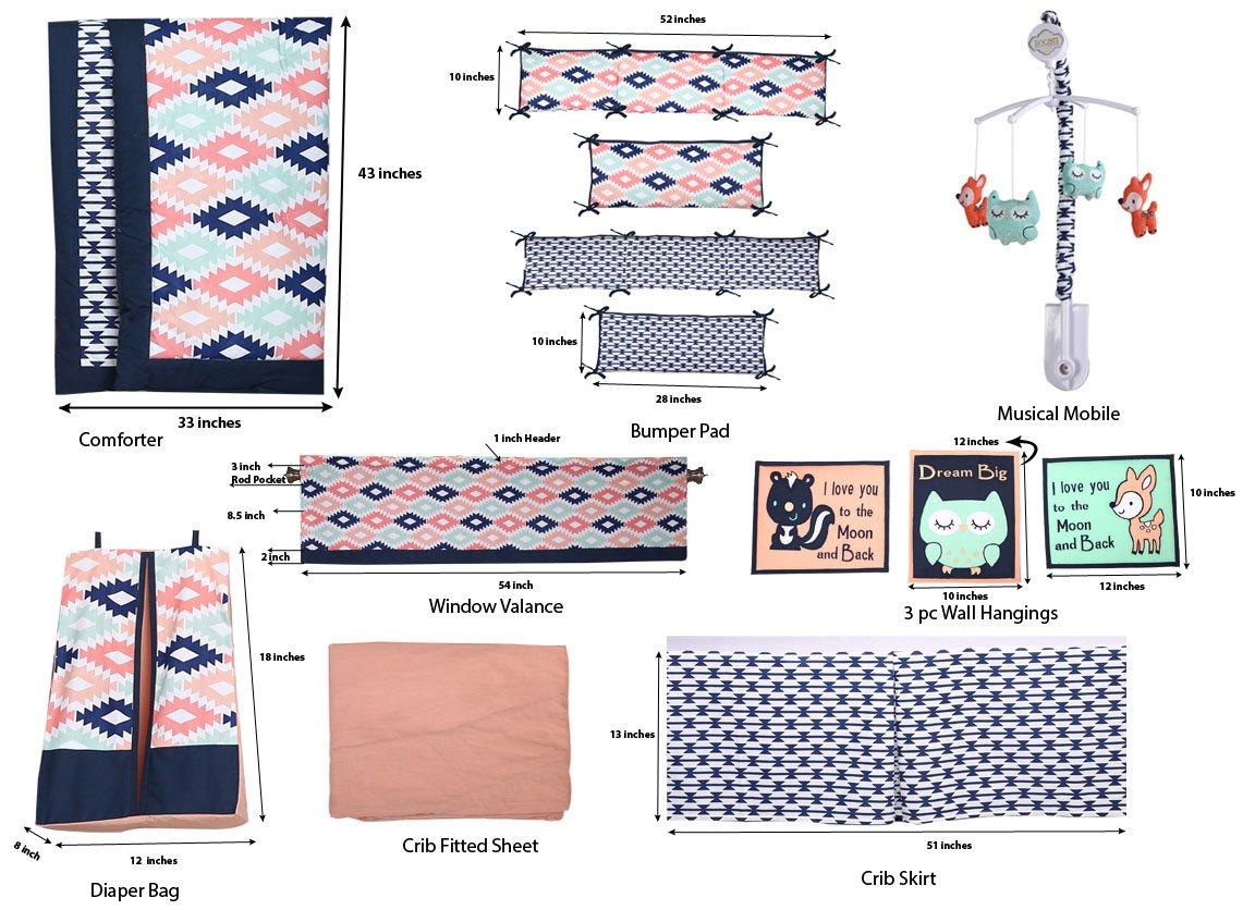 Bacati - Emma Aztec Coral/Mint/Navy 10 pc Crib Set Including Bumper Pad