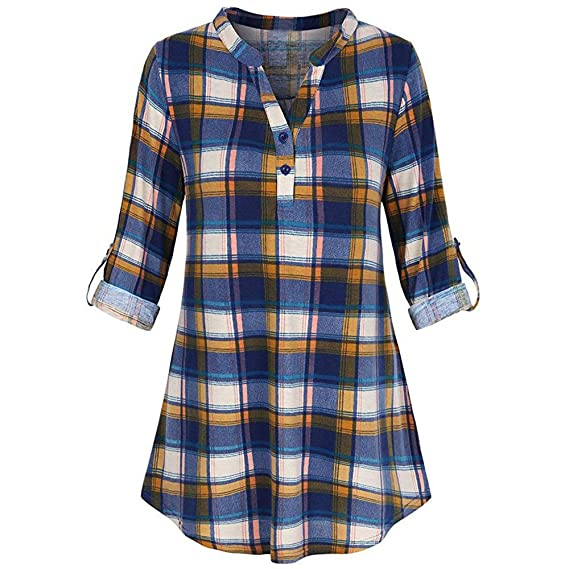 Partido De La Mujer V Cuello Largo Tamiz Casual Roll-Up Plaid Túnica Blusas Tops