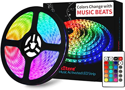 Amazon Com Led Strip Lights Music Dotstone Rgb Led Light Strip Kit 16 4ft Smd 5050 Tape Lights Color Changing Rope Lights With Remote For Bedroom Home Kitchen Tv Party Desk Room Home