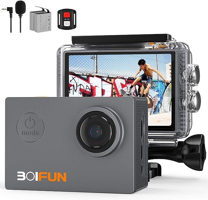 30 opinioni per BOIFUN Action Cam 4K HD 20MP WiFi EIS Stabilizzazione con Telecomando e