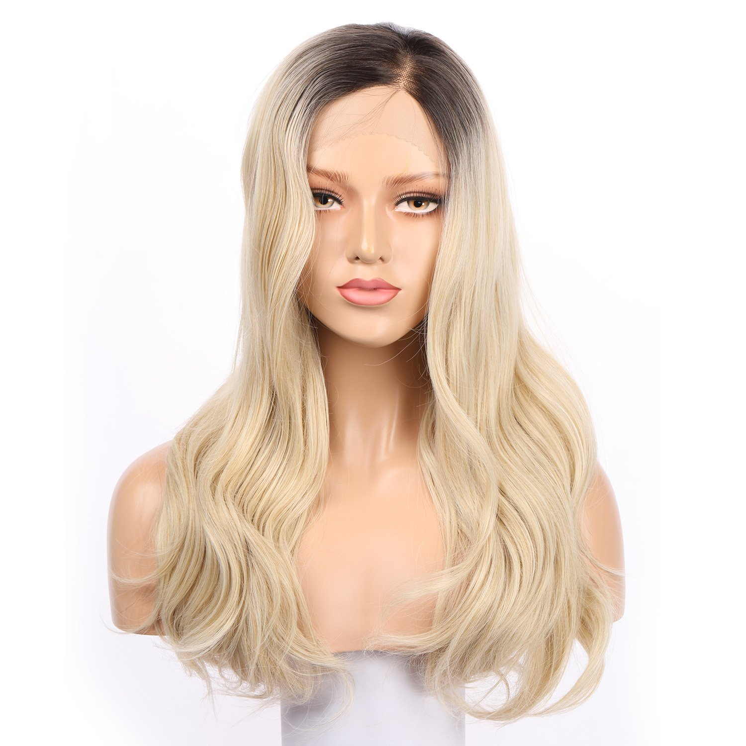 Fennell Blonde Ombre Long Body Wave Lace Front Wig Synthetic Wigs For Women Fiber Hair Heat Resistant Hair FNR