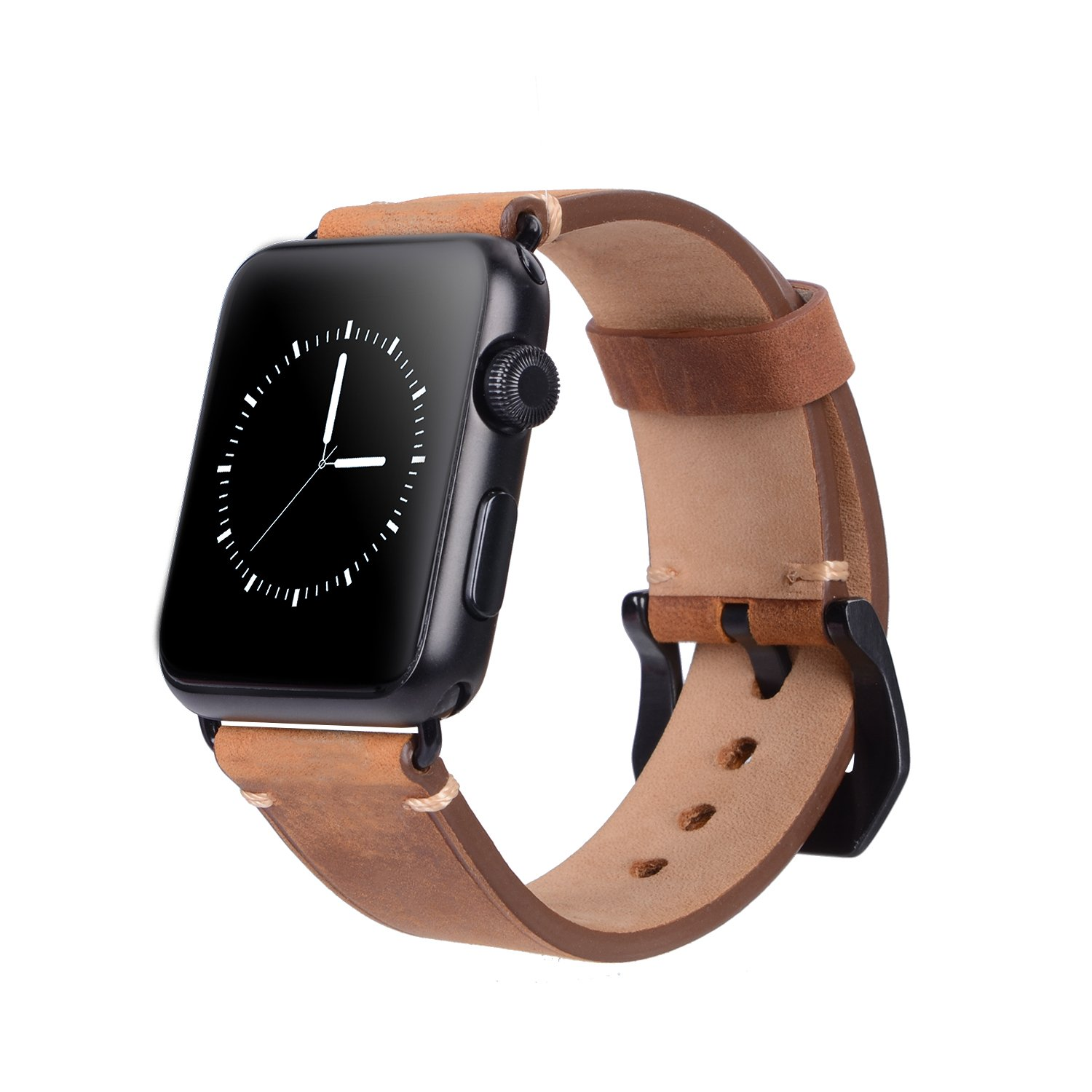 For 42mm Apple Watch Band, Genuine Leather iWatch Strap with Black Metal Clasp Buckle for Apple Watch Series 3 Series 2 Series 1 Sport Edition (42mm Dark Brown) by AMMZO (Image #8)