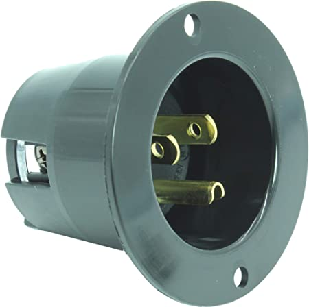 20 Amp NEMA 6-20P Flanged Power Inlet With Front and Back Covers by AC WORKS®