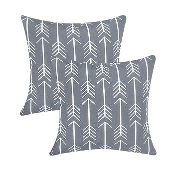 Topfinel 2er Set Kissenbezüge 40x40 Cm Qualitäts Kissenhüllen In Segeltuch Mit Geometrischen Mustern Für Sofa Auto Terrasse Zierkissenbezüge Pfeil