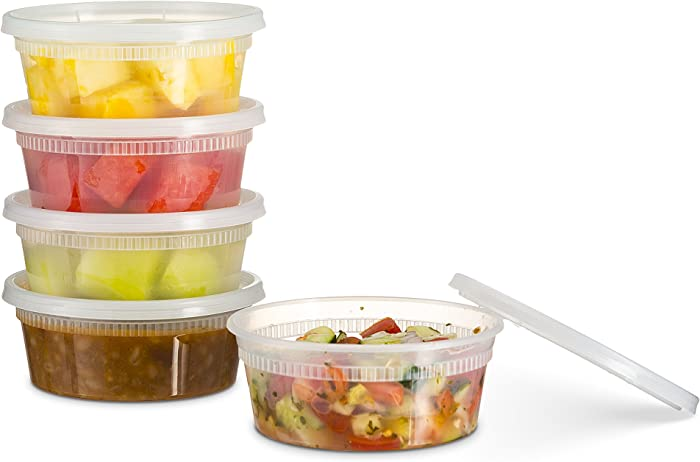 [72 Count 8 Oz Combo] Basix Disposable plastic Deli Food Storage Containers With Plastic Lids, Leakproof, Great For Meal Prep, Picnic, Take Out, traveling, Fruits, Snack, or Liquids