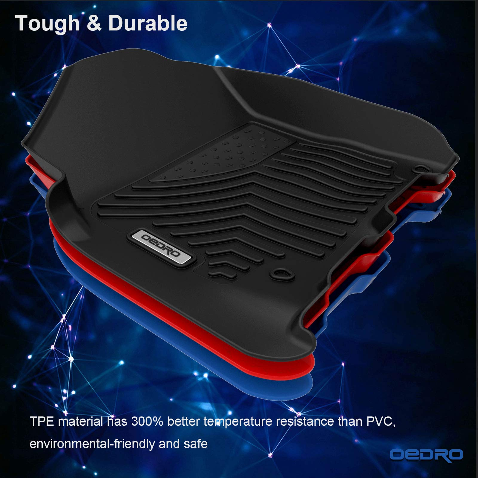 oEdRo Floor Mats Compatible for 2012-2018 Dodge Ram 1500/2500/3500 Crew Cab, Unique Black TPE All-Weather Guard Includes 1st and 2nd Row: Front, Rear, Full Set Liners by oEdRo (Image #2)