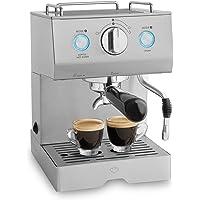 Cafetera expreso de acero Emilia (1140 W) cafetera expreso potente con soporte de filtro, Máquina para café con función de espumador para leche incluida y támper, descarga 15 bar