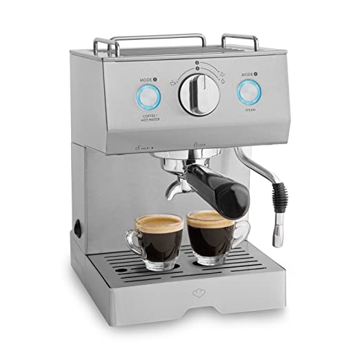Cafetera Expreso de Acero Emilia 1140 W, 15 Bares, 1,5 L con filtro, Máquina para café con función de espumador para leche y támper + Gratis ...