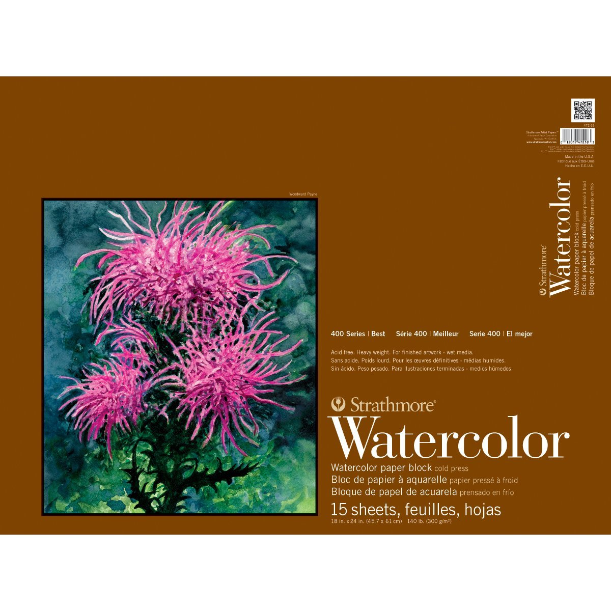 Strathmore 400 Series Watercolor Block, Cold Press, 18''x24'' Bound (4 sides), 15 Sheets/Block by Strathmore