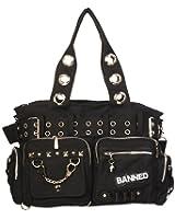 Banned Damen Handtasche - Schultertasche Handschellen und Nieten Schwarz
