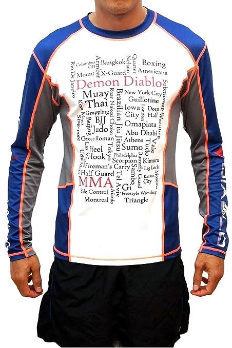 Amazon.com   Demon Diablo Men s Long Sleeve BJJ Rashguard for ... 9b8b3aae8b5