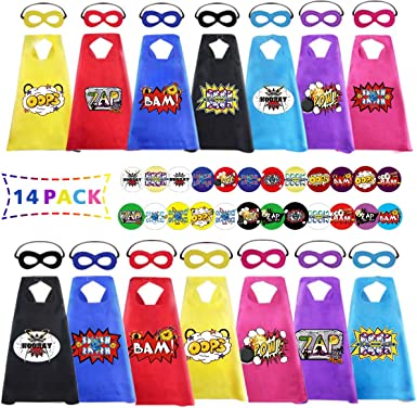 AIMIKE Superhero Capes and Masks for Kids 24 Sets Bulk Pack Party Dress Up Cape