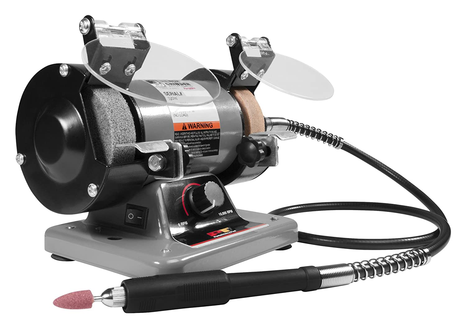 "Performance Tool W50003 3"" Mini Bench Grinder and Polisher with Flexible Shaft and Accessories,120W,0-10000 RPM"
