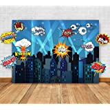 Superhero Cityscape Photography Backdrop and Studio Props DIY Kit. Great as Super Hero City Photo Booth Background ? Birthday Party and Event Decorations