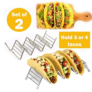 Taco Holder, taco holder stand,Stainless Steel Taco Rack, Good Holder Stand on Table, Hold 3 or 4 Hard or Soft Shell Taco, Safe for Baking as Truck Tray- Set of 2