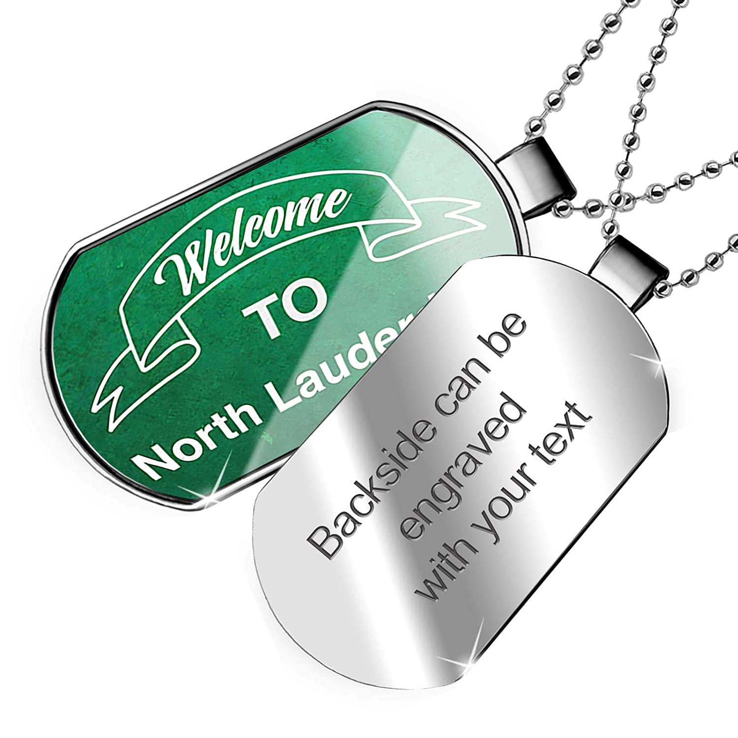 NEONBLOND Personalized Name Engraved Green Sign Welcome to North Lauderdale Dogtag Necklace