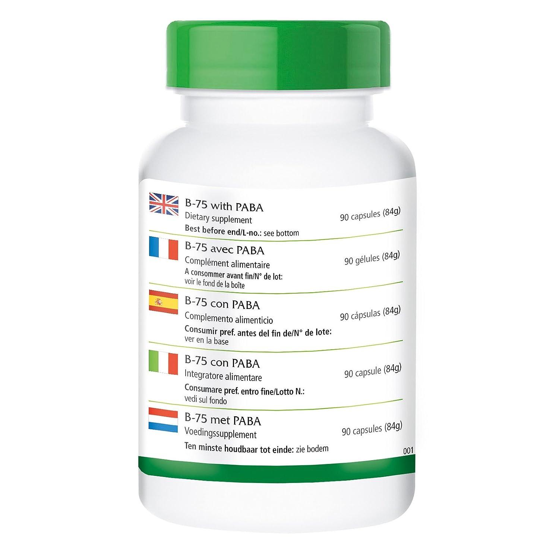B-75 PABA (ácido para-aminobenzoico) - GRANEL durante 3 meses - VEGAN - dosis alta - 90 Cápsulas - complejo de la vitamina B: Amazon.es: Salud y cuidado ...