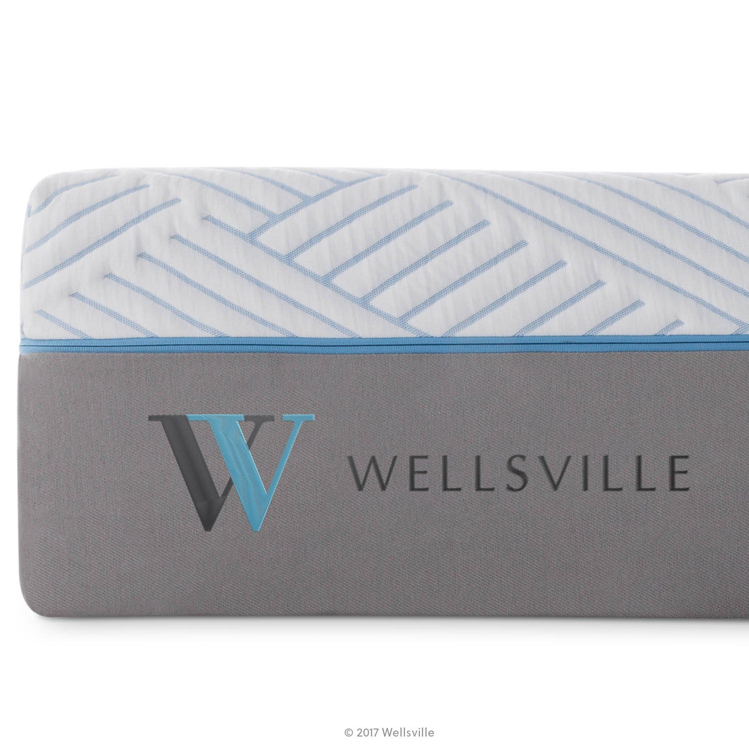 WELLSVILLE 14 Inch Carbon Cool Memory Foam Premium Mattress, King, Grey/White