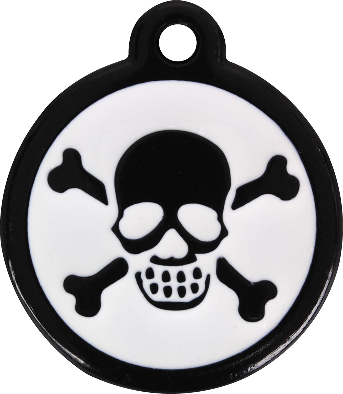 L Red Dingo QR Black Pet Tag, Skull Crossbones, Large