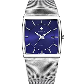 daa403396 Mens Square Analog Quartz Watch with Date Luminous Waterproof Silver  Stainless Steel Mesh Band Blue Face