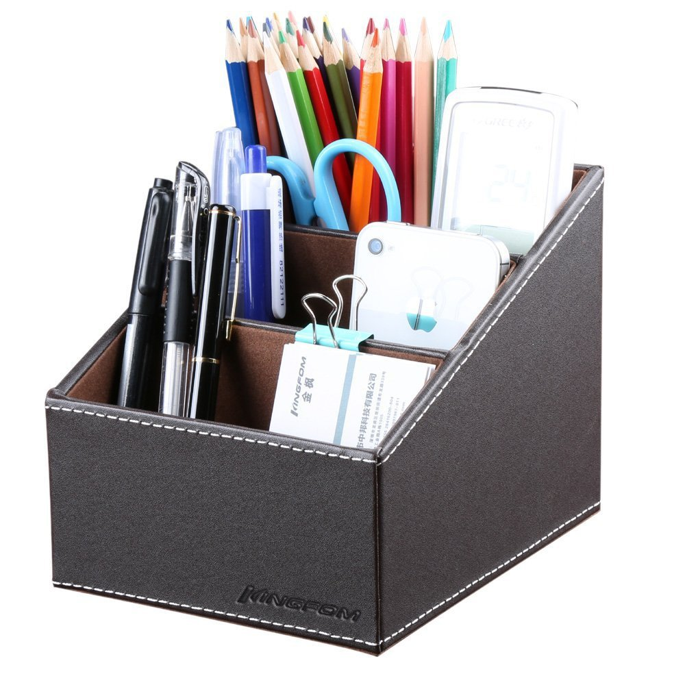 KINGFOM 3 Slot PU Leather Remote Control Holder Organizer, Home Sundries Storage Box, TV Guide/Mail/CD Organizer/Caddy/Holder with Free Cable Organizer(Brown)