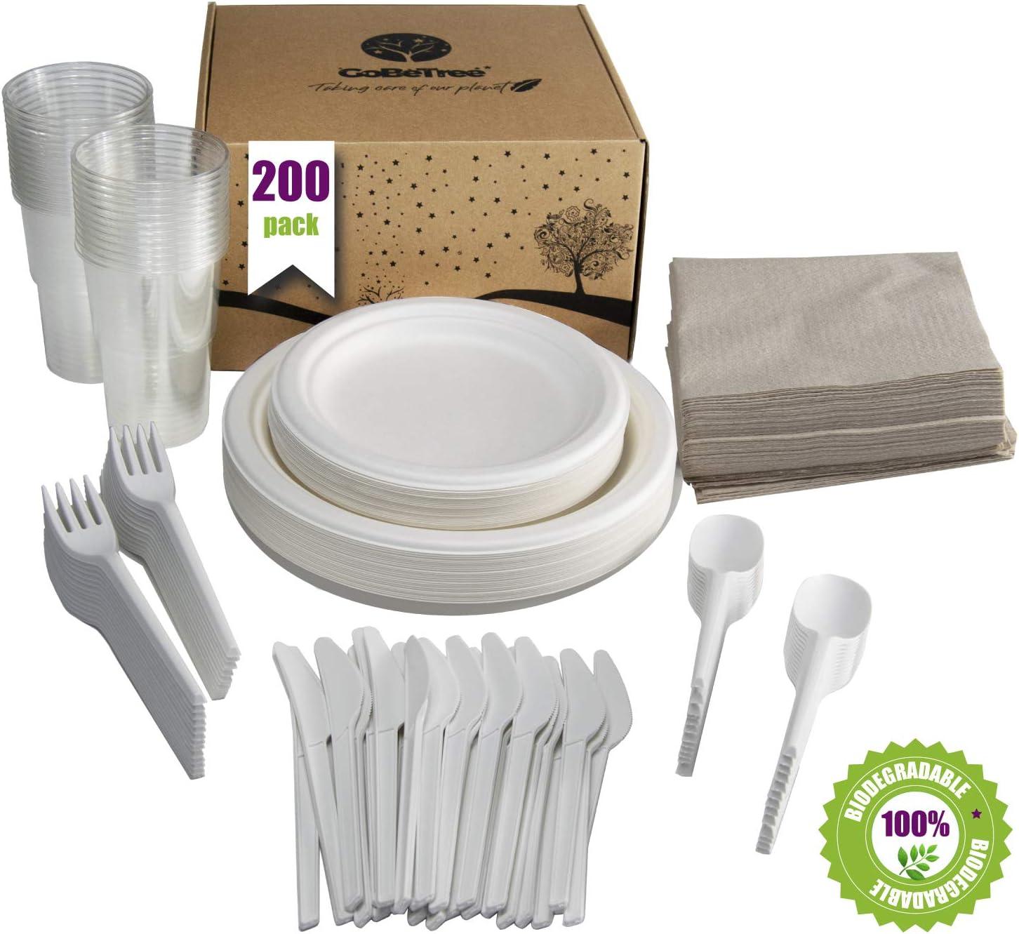 GoBeTree Vajilla desechable de 200 Piezas para 25 Personas. Paquete vajilla Biodegradable de caña de azúcar Incluye 50 Platos, 25 Tenedores, 25 Cuchillos, 25 cucharas, 25 Vasos y 50 servilletas.: Amazon.es: Hogar