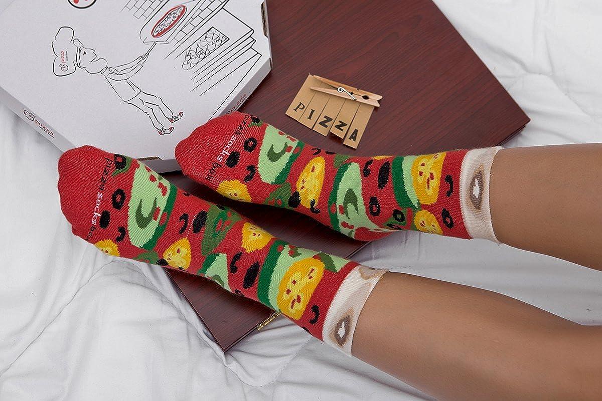 Pizza Socks Box - Pizza MIX Italiana Hawaiana Vegetariana - 4 pares de CALCETINES Divertidos de ALGADON, Unicos y Originales Idea de REGALO| para Mujer y ...