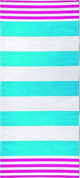 Toalla de playa 100% algodón egipcio 90x170 cm multirallas turquesa: Amazon.es: Hogar